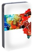 Massachusetts - Map Counties By Sharon Cummings Portable Battery Charger