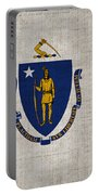 Massachusetts State Flag Portable Battery Charger by Pixel Chimp