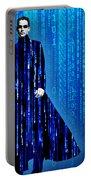 Matrix Neo Keanu Reeves Portable Battery Charger by Tony Rubino