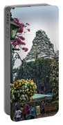 Matterhorn Mountain With Flowers At Disneyland Portable Battery Charger