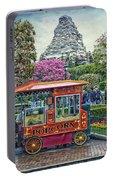 Matterhorn Mountain With Hot Popcorn At Disneyland Textured Sky Portable Battery Charger