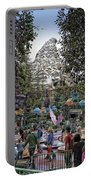 Matterhorn Mountain With Tea Cups At Disneyland Portable Battery Charger