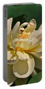 Mature Lotus Flower And Cute Hovering Honeybee Portable Battery Charger