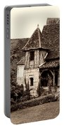 Medieval Cottage In Sarlat Sepia Portable Battery Charger