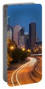 Memorial Drive And Houston Skyline Portable Battery Charger