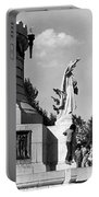 Memorial Statue Children Playing Juarez Chihuahua Mexico 1977 Black And White Portable Battery Charger