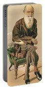 Men Of The Day, No. 33, Charles Darwin, Cartoon From Vanity Fair Portable Battery Charger
