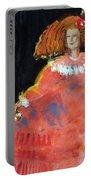 Menina And Cathedral Oil & Acrylic On Canvas Portable Battery Charger