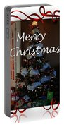 Merry Christmas - Greeting Card - Christmas Tree - Ribbons Portable Battery Charger