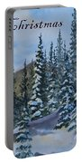 Merry Christmas - Winter Trees And Mountains Portable Battery Charger