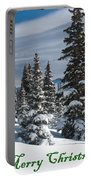 Merry Christmas - Winter Trees And Rising Clouds Portable Battery Charger