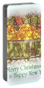 Merry Christmas And A Happy New Year - Fruit And Flowers In The Snow - Holiday And Christmas Card Portable Battery Charger