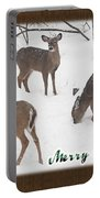 Merry Christmas Card - Whitetail Deer In Snow Portable Battery Charger