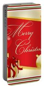 Merry Christmas Greeting With Gifts Bows And Ornaments Portable Battery Charger