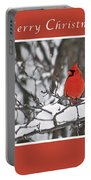 Merry Christmas Male Cardinal Portable Battery Charger