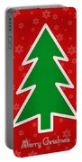 Merry Christmas Tree With Snowflake Background  Portable Battery Charger