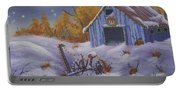 Merry Christmas You Old Barn And Farm Implement Portable Battery Charger