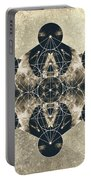 Metatron's Cube Silver Portable Battery Charger by Filippo B