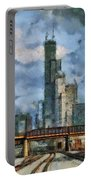Metra Train View Sears Willis Tower Mixed Media 03 Portable Battery Charger