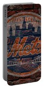 Mets Baseball Graffiti On Brick  Portable Battery Charger by Movie Poster Prints