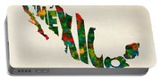 Mexico Typographic Watercolor Map Portable Battery Charger