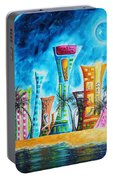 Miami City South Beach Original Painting Tropical Cityscape Art Miami Night Life By Madart Absolut X Portable Battery Charger
