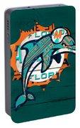 Miami Dolphins Football Team Retro Logo Florida License Plate Art Portable Battery Charger