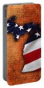 Michigan Amercian Flag State Map Portable Battery Charger