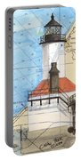 Michigan City Lighthouse In Nautical Chart Map Art Cathy Peek Portable Battery Charger