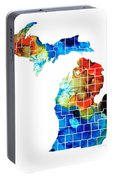 Michigan State Map - Counties By Sharon Cummings Portable Battery Charger
