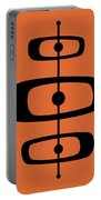 Mid Century Shapes 2 On Orange Portable Battery Charger