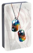 Military Art Dog Tags - Honor - By Sharon Cummings Portable Battery Charger