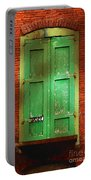 Mill Door In Dappled Sunlight Portable Battery Charger