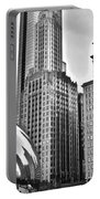 Millennium Park In Black And White Portable Battery Charger
