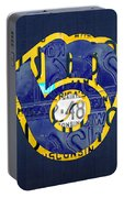 Milwaukee Brewers Vintage Baseball Team Logo Recycled Wisconsin License Plate Art Portable Battery Charger