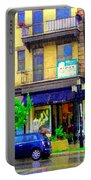 Mimi And Coco Clothing Boutique Laurier In The Rain  Plateau Montreal City Scenes Carole Spandau Art Portable Battery Charger