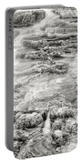 Minerva Springs In Black And White Yellowstone National Park Wyoming Portable Battery Charger