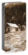 Mining House In Black And White Portable Battery Charger