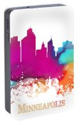 Minneapolis City Colored Skyline Portable Battery Charger