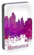 Minneapolis City Skyline Purple Portable Battery Charger