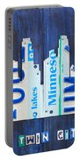 Minneapolis Minnesota City Skyline License Plate Art The Twin Cities Portable Battery Charger