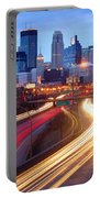 Minneapolis Skyline At Dusk Early Evening Portable Battery Charger