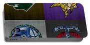 Minneapolis Sports Fan Recycled Vintage Minnesota License Plate Art Wild Vikings Timberwolves Twins Portable Battery Charger