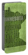 Minnesota Word Art State Map On Canvas Portable Battery Charger