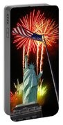 Miss Liberty And Fireworks Portable Battery Charger