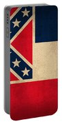 Mississippi State Flag Art On Worn Canvas Portable Battery Charger