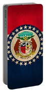 Missouri State Flag Art On Worn Canvas Portable Battery Charger