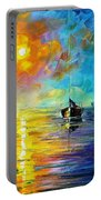 Misty Calm - Palette Knife Oil Painting On Canvas By Leonid Afremov Portable Battery Charger