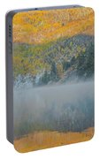 Misty Lake With Aspen Trees Portable Battery Charger