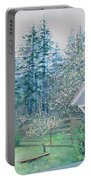Misty Morning With Apple Blossoms And Redwoods Portable Battery Charger